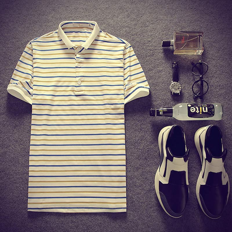 2016 new high quality summer striped collar han edition cultivate one's morality short sleeve T-shirt men(China (Mainland))