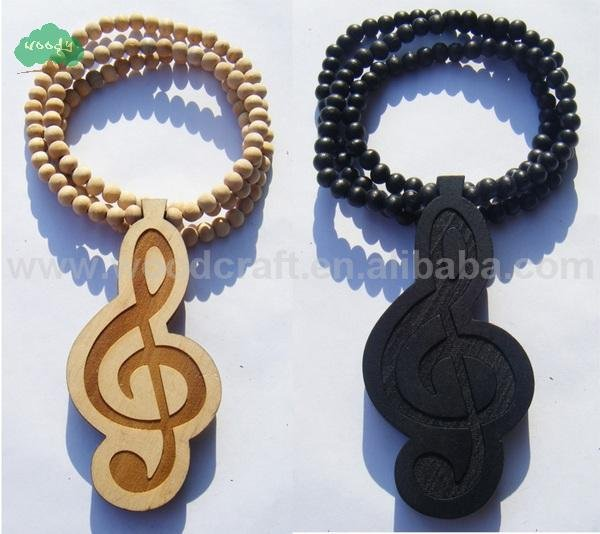 100% HQ HOT Cassette Tape Music Note Wooden Necklace Hip Hop Music Wood Fashion Beads(China (Mainland))