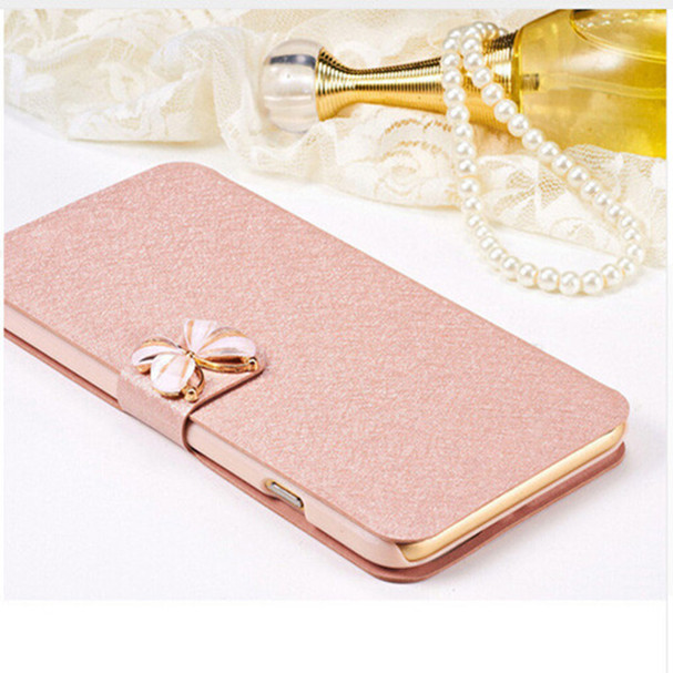 New Silk High Quality Flip Mobile Phone Bags Cases For Huawei Ascend P8 Lite P8 Mini Luxury Camellia Cell Case Cover