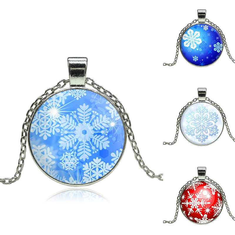 Handcrafted Snowflake Pendant Necklace Glass Cabochon Silver Chain Necklaces For Women Fine Jewelry Christmas Gifts(China (Mainland))