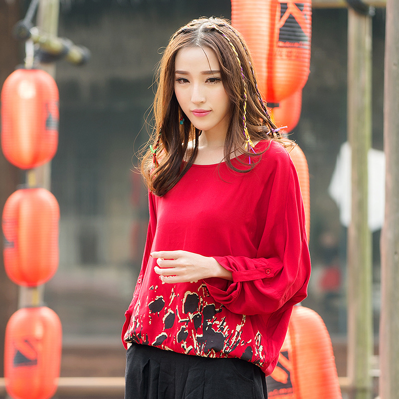 New Spring Fashion Bats Shirt Loose Printing Of Lady's Big Yards Long Sleeve Blouse 2016 Long Sleeve Round Neck(China (Mainland))