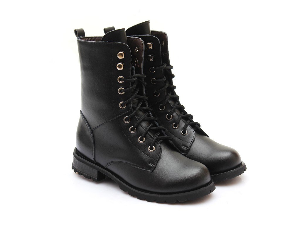 2014 new winter snow boots fashion black genuine leather