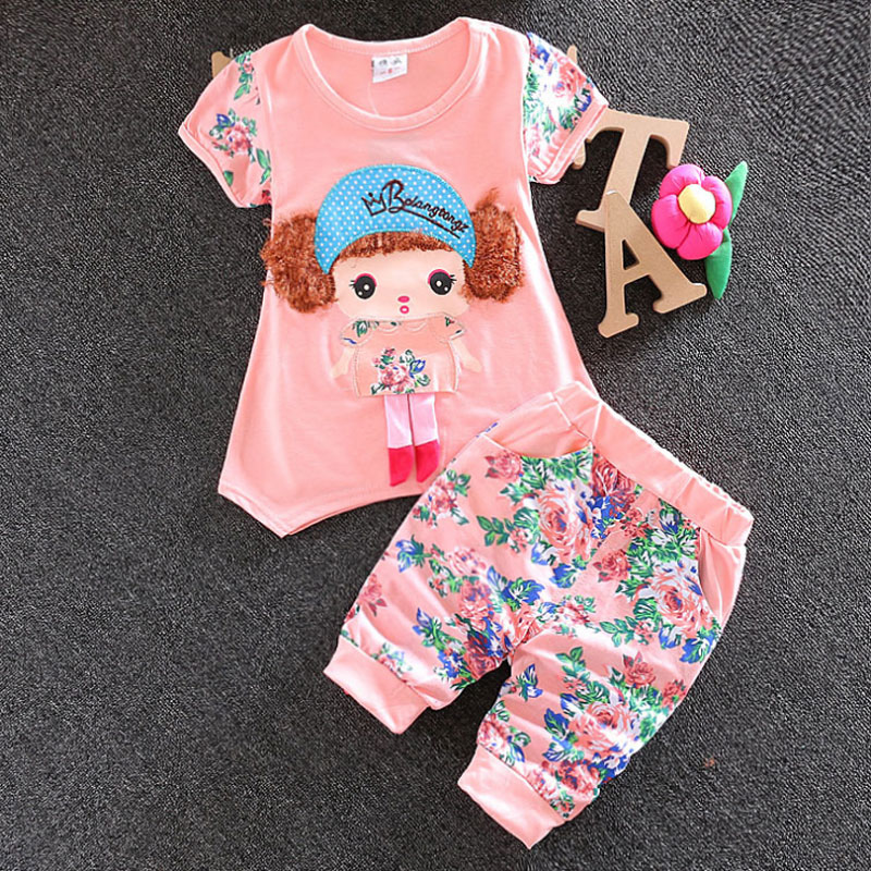 Summer infant baby girls clothes set short-sleeved sprint suit 2016 Korean baby girls child casual sport tops+pant clothing sets(China (Mainland))