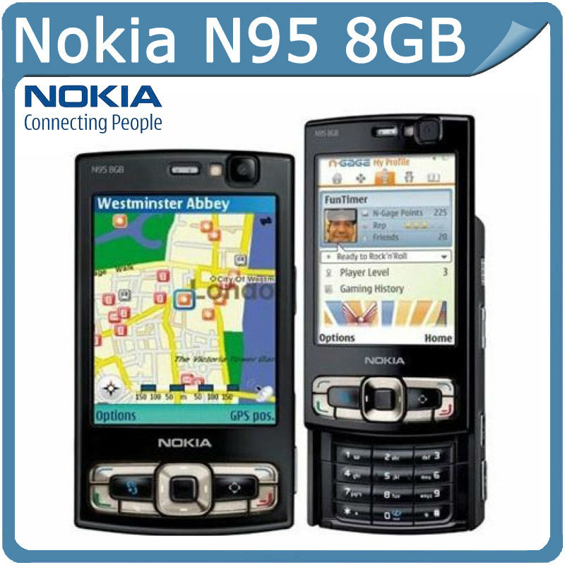 N95 8GB Original Nokia N95 8GB WIFI GPS 5MP 2.8''Screen WIFI 3G Unlocked Mobile Phone with 8GB internal(China (Mainland))