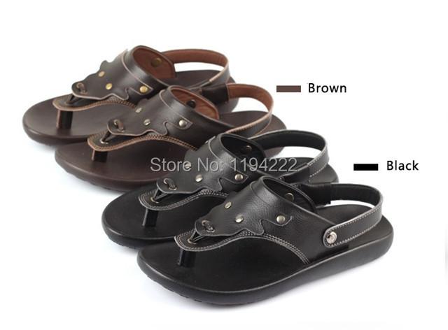 2014 Summer Men's sandals dual purpose flip flop & sandal men's shoes leather - Summer's Leisure Shop store