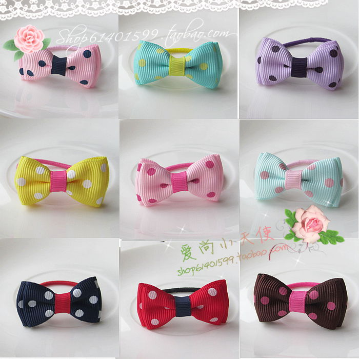 A pair of child hair accessories small polka dot child hair rope rubber band small headband(China (Mainland))