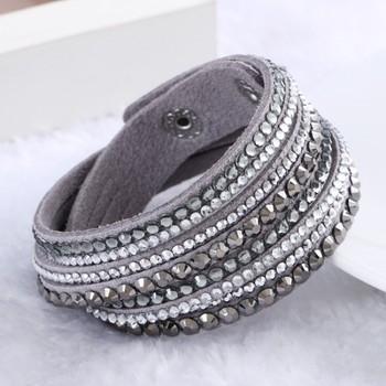 2015 New Leather Bracelet Rhinestone Crystal Bracelet Wrap Multilayer bracelets for women pulseras mulher Jewelry