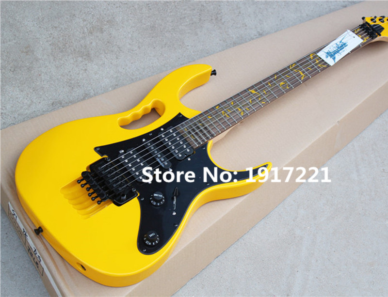 Yellow Electric Guitar,24 Frets,3 Open Pickups,Floyd Rose,Tree of Life Fret Marks Inlay,Black Pickgaurd,Can be Customized(China (Mainland))