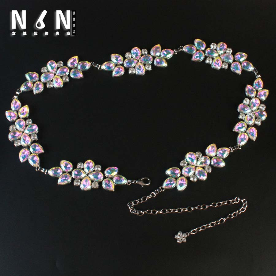 Fashion silver metal tassel wide waist chains Europe female giant crystal Mosaic dress belt accessories H231