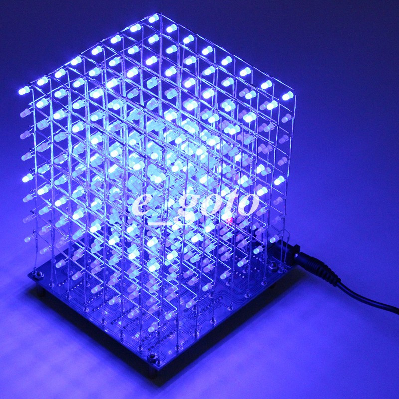 ⊱8x8x8 3d Led Lightsquared ᐂ Diy Diy Kit White Led ③ Blue Blue Ray 3mm Led Cube Electronic Suite