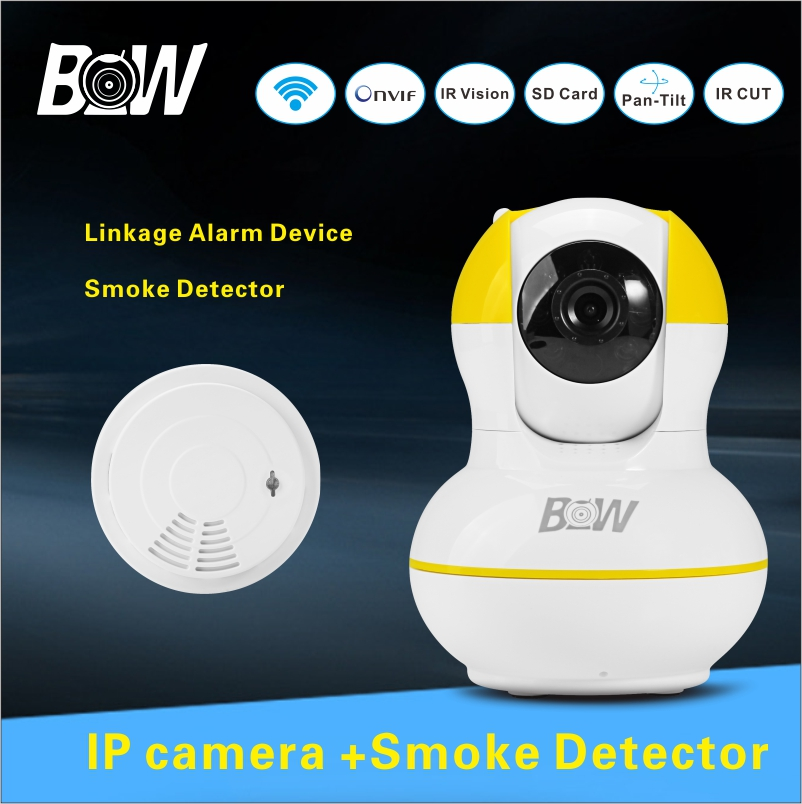 High Quality Surveillance Camera With Smoke Detector Home Shop School Market Smart Baby Monitor Wifi IP Camera IR Cut BWIPC012Y(China (Mainland))