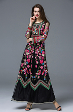 High Quality Classic Autumn Winter Runway Designer Dress Women's Long sleeve Gauze Retro Noble Floral Embroidery Long Dress(China (Mainland))