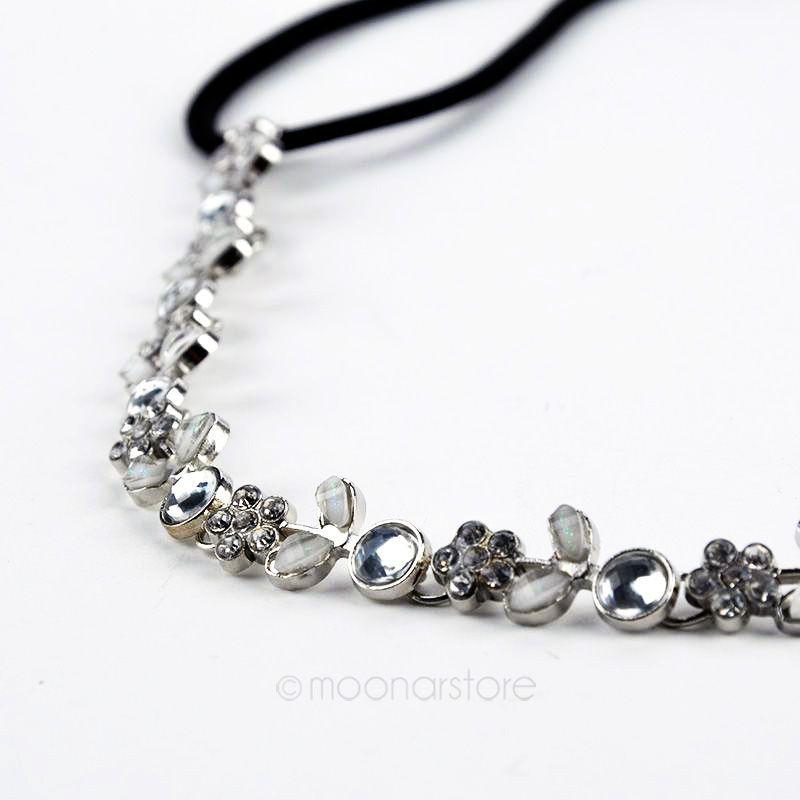 Lady Elastic Rhinestone Diamond Headbands Wedding Bridal Flower Headband Hairbands Headwear Head Band Head Chain Y70*MPJ063#M5(China (Mainland))