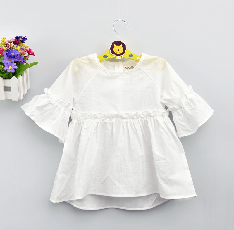 Fashion  children's Blouses Shirts Baby Cotton solid pattern girl Lotus leaf sleeve clothes white pink  free shipping