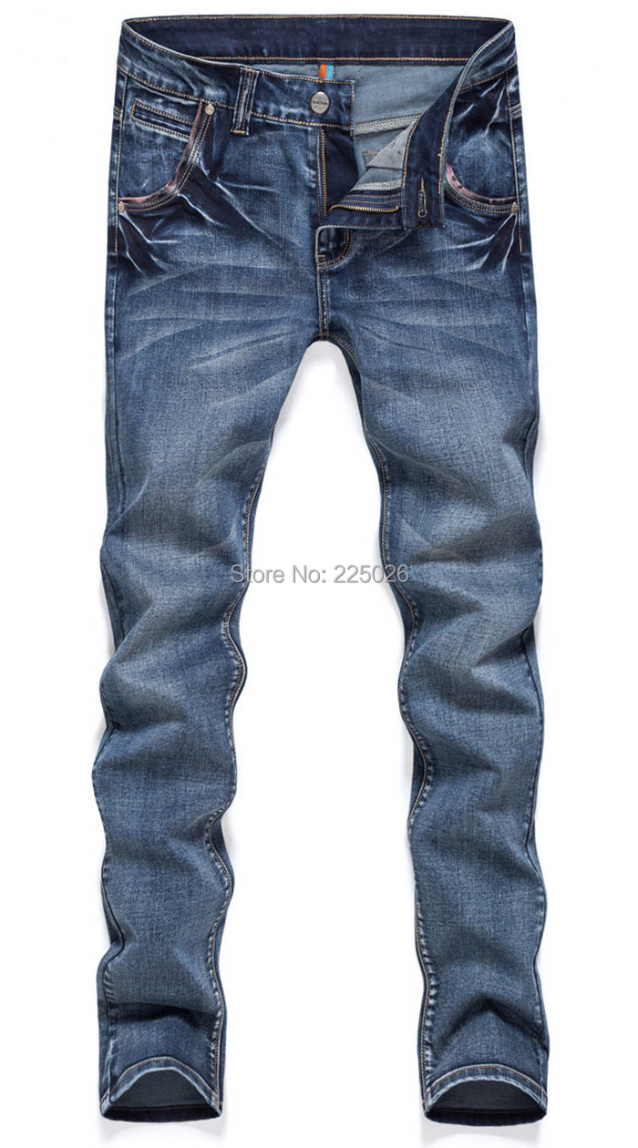 2014 NEW Spring Overall Fashion Mens Washed Casual Denim Autumn Winter Dress Trousers Slim Feet Cotton Sports Pants Jeans 27-36 - Factory direct sales-yiwu International Garment Co., Ltd. store