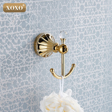 Luxury crystal & brass gold robe hook bathroom hangings gold towel rack clothes hook 16082G(China (Mainland))