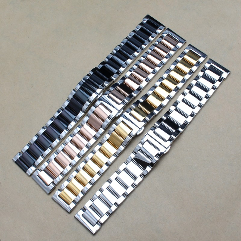 Silver and black  Rose gold  Stainless steel watchband Bracelets 18mm 20mm 22mm 24mm Watches strap butterfly buckle deployment