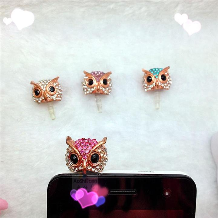 Mobile phone accessories Free Shipping Cell Phone Accessories Jewelry Crystal Pearl Owl Charms Cute Phone Anti Dust Plug Cap(China (Mainland))