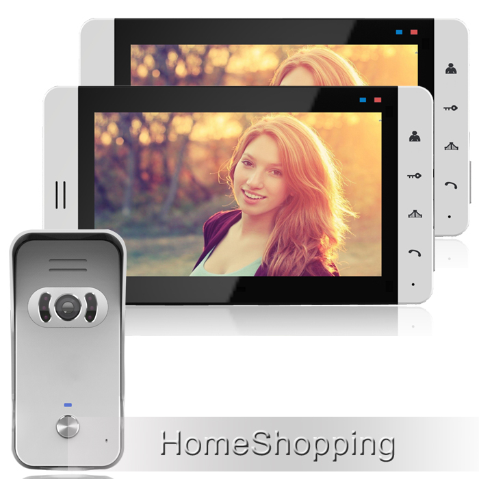 """FREE SHIPPING Home Wired 7"""" Color TFT Video Doorphone Intercom System + 2 Touch White Monitor + Waterproof Door Camera IN STOCK(China (Mainland))"""