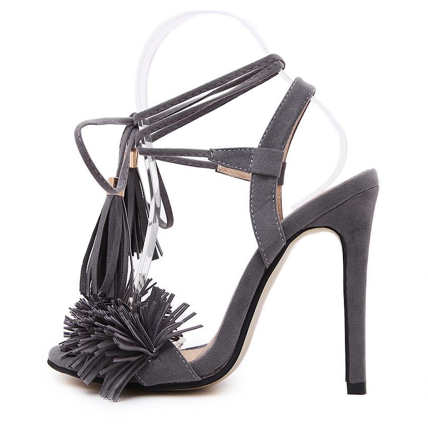 ซื้อ 2016 Fashion Design Tassel Women Pumps Sexy Peep Toe High Heels Summer Shoes Woman Ladies High Heel Sandals