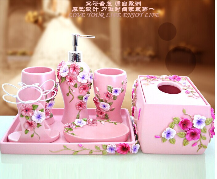 2014 bathroom set gift fashion resin bathroom set of five pieces shukoubei(China (Mainland))
