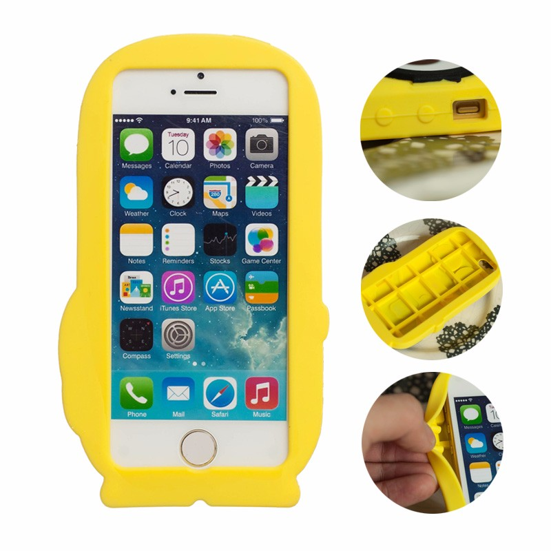 For iPhone 5 5S 5SE Case Fashional 3D Cute Cartoon Despicable Me Soft Rubber Silicon Yellow Minion Back Cover for iPhone Coque