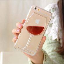 Горячая распродажа красное вино жидкость прозрачный чехол для Apple , iPhone 4 4S 5 5S 6 6 S плюс всех моделей телефонов чехол задней обложки C034