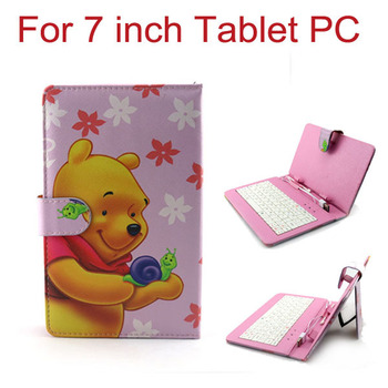 New 3 in 1 USB Keyboard Touch Pen Protective Leather Case Stand Cover for 7 inch Tablet PC MID Free Shipping