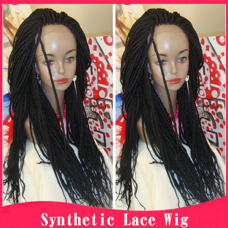 Braided Lace Front Wigs Black Long Synthetic Wigs For Black Women Best Thick Full Hand Braided Synthetic Hair Micro Braided Wigs<br><br>Aliexpress