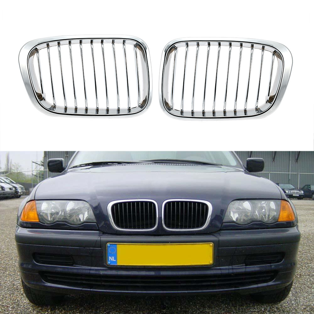 Hot Sale One Pair Plated Chrome Silver Front Grille Grilles for BMW E46 4 Door 98-01 Car Racing Grilles for BMW(China (Mainland))