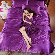 Freeshipping Hot Morden Moder Bed Linen Set Satin Linens Silk Bedding Solid Violet Satin Duvet Covers 4pcs of Bed Set Twin Size(China (Mainland))