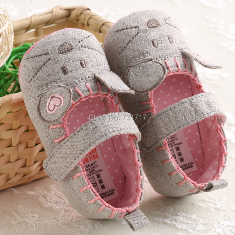 New Fashion Lovely Soft Contton Bowknot Animal Prints Grid Infant Toddler First Walkers Casual Baby Shoes Size 0-18months