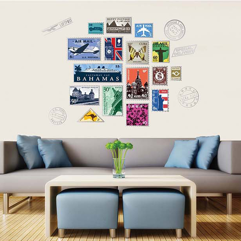 1pcs Postage Stamps Postal Wall Decals City Sticker Bedroom Window Sofa TV Living Room Travel Poster Home Decoration Accessories(China (Mainland))