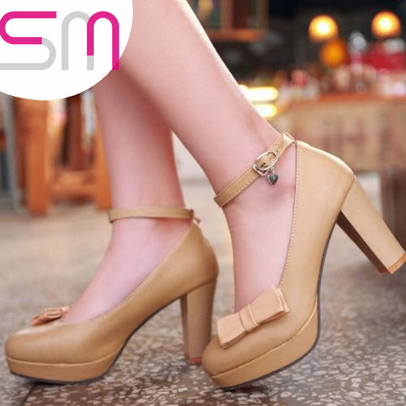 Brand New 2015 Women's High Thick Heels Platform Pumps Shoes Elegant Mary Jane Sweet Bow Summer