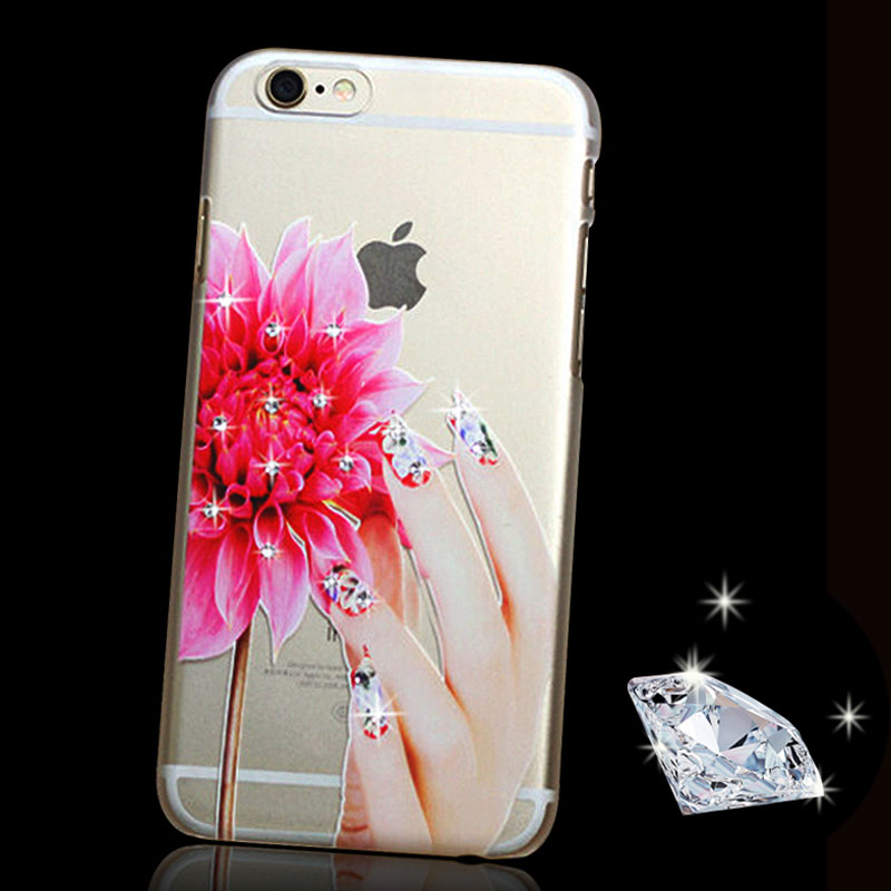 Rhinestone Clear Case for iPhone 6 6S 4.7inch / 6 Plus 5.5inch 5s SE Luxury Crystal Flowers Girls Fingers Phone Cover Hard Cases(China (Mainland))