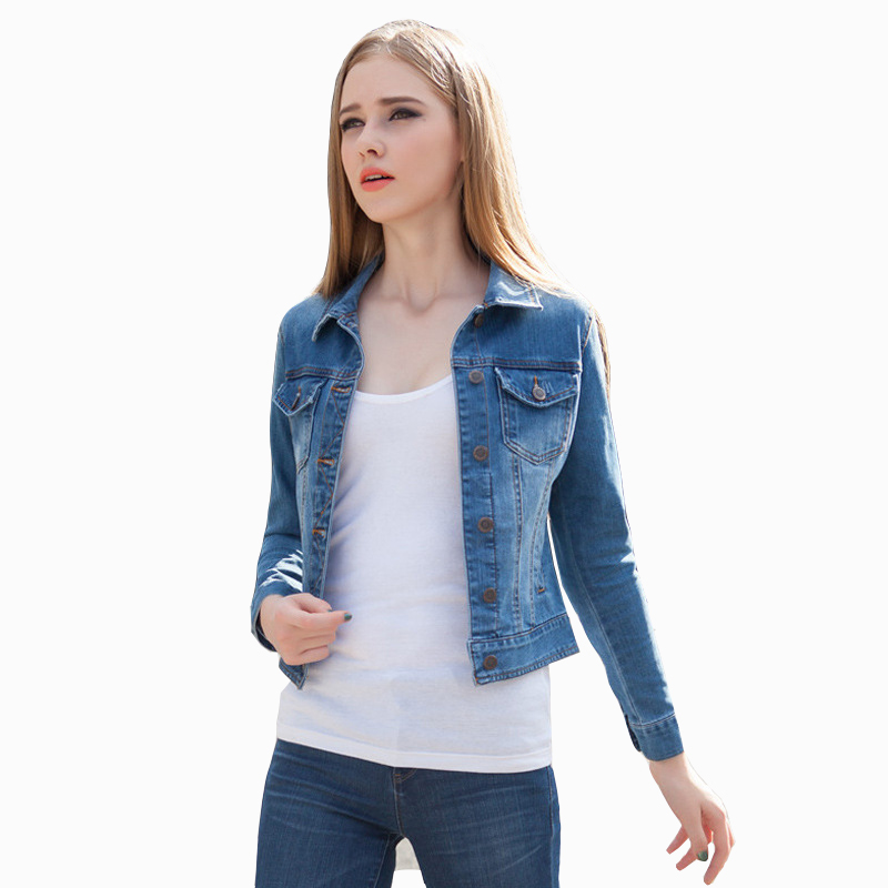 New 2016 Women Denim Jackets Tops Spring Autumn Long Sleeve Fashion Blue Denim Coat Short Jeans ...