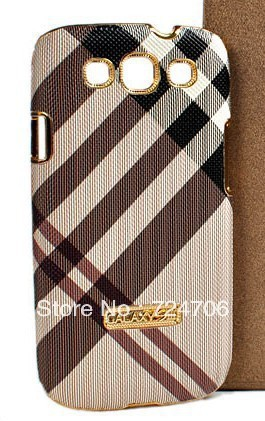 50pc/lot Electroplate Gold Luxury Grid Leather Case For Samsung Galaxy S3 SIII I9300 Free shipping DHL/EMS
