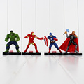 10cm 4pcs lot Marvel The Avengers Super Heroes Iron Man Hulk Captain America Thor PVC Action