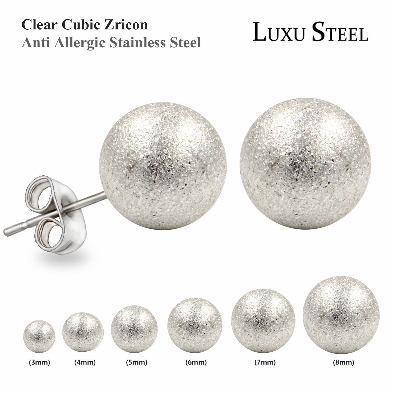 New 6 Pair Silver Plated Ball Stud Earrings Stainless Steel Cartilage Earrings Frosted Ear Pins Piercing Studs Earring for Women(China (Mainland))