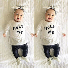 Fashion Baby Toddler Girls Boy HOLD ME T shirt Tops Clothes With PU Leather Pants Outfit Set Hot Selling
