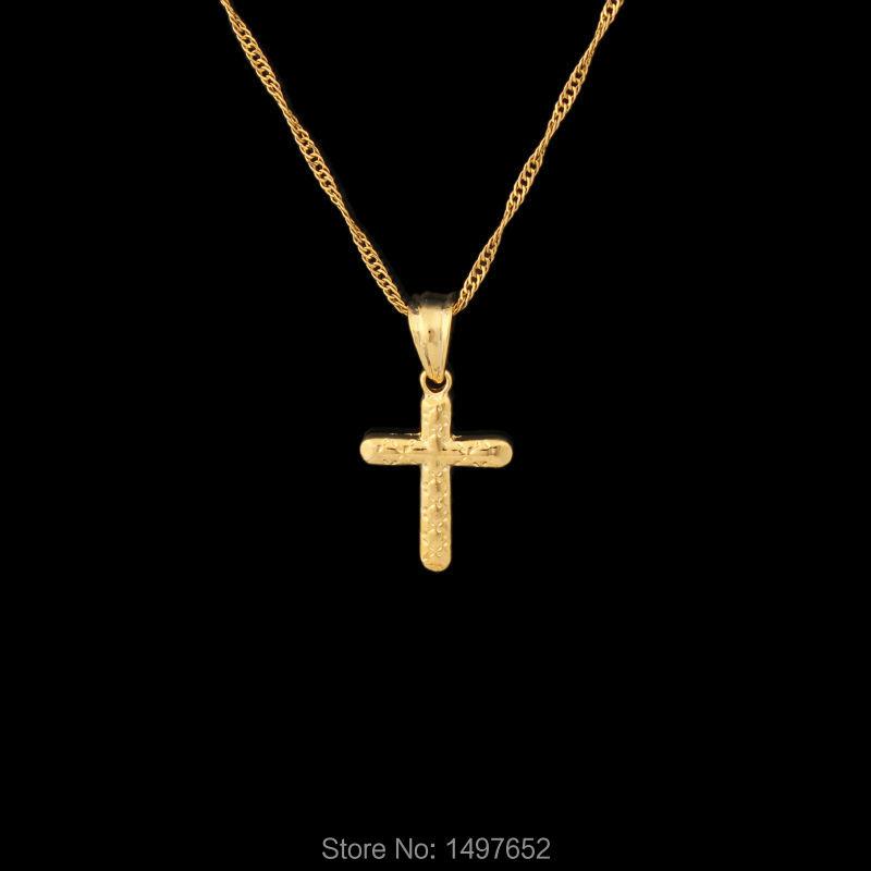 cross necklace women men 18k gold plated pendant necklace