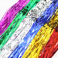 Buy Metallic Foil Tinsel Fringe Curtain Door Rain Home Room Wedding Party Decoration Stage Backdrop Background Photo Props for $4.44 in AliExpress store