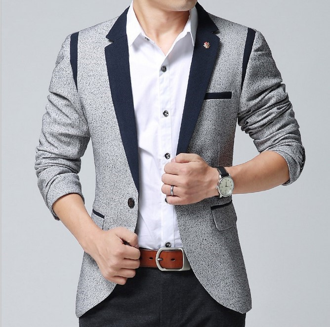 Brand Design Men Blazer Fashion Slim Fit Casual Full Business Dress ...