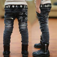 2015 New Winter Fashion Cotton Boys Jeans Warm Children'S Jeans Black Long Pants Kids Clothing  Large Size 5-14 Height 110-160CM(China (Mainland))