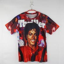 2015 hot sale Michael Jackson thriller letters printed 3d t-shirt red short sleeve summer tops women/men t-shirt