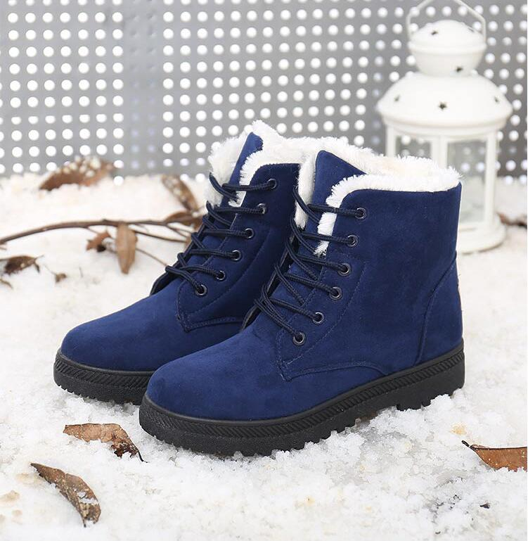 New Women Blue Snow Winter Warm Flat Lace Up Fur Lined Martin Ladies Boots Snow Ankle Plus velvet warmth Boots Shoes(China (Mainland))