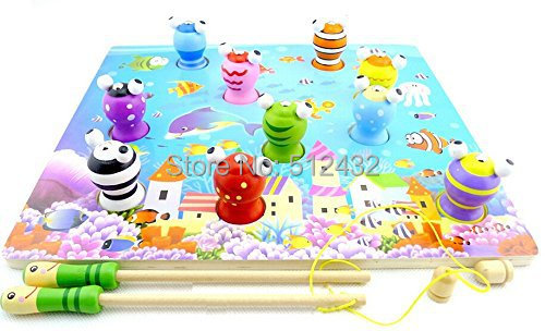 3D Colorful Wooden Magnetic Fishing Toys Game(China (Mainland))