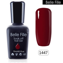 Buy BELLE FELLE Wine Red UV salon gel nail polish Cosmetics Makeup Long-lasting Bling Nail Manicure soak gel paint Nail Art 15ml for $2.71 in AliExpress store