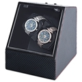 Carbon Fiber Auto Silent Watch Winder Irregular Shape Transparent Cover Wristwatch Box with EU Plug
