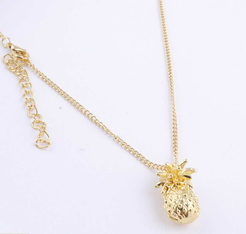 2pcs/lot Tiny Pineapple Fruit Cute Charm Long Chain Necklace Summer Jewelry Gold Plated Fashion Gift for Men Women Children(China (Mainland))